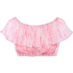 Victoria's Secret Off-the-shoulder Crop Top (370 SEK) ❤ liked on Polyvore featuring tops, ruffle crop top, ruffle top, victoria's secret, crop top and pink off the shoulder top