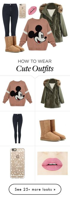 """cute winter outfit"" by wildkate on Polyvore featuring Topshop, WithChic, UGG Australia, Casetify, women's clothing, women's fashion, women, female, woman and misses"