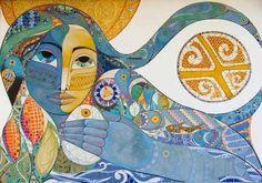 The seraphic book of eloy: Ysy, Kuarahy ha Yvytu. Tecnological Park of, Brasil - Art Neoguaraní, Miguel Hachen. Cubist Art, Abstract Art, Carrie, Art Nouveau Architecture, Mural Wall Art, Portrait Art, Pattern Art, Line Drawing, Figurative Art