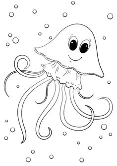 Cartoon Jellyfish Coloring Page From Category Select 24848 Printable Crafts Of Cartoons