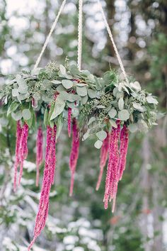16 Stunning Summer Wedding Flowers---Pink amaranthus and greenery chandelier wedding reception decorations for outdoor weddings, woodland weddings, garden weddings Wedding Color Combinations, Fall Wedding Colors, Floral Wedding, Summer Wedding, Wedding Flowers, Boho Wedding, Wedding Reception, Flower Chandelier, Chandelier Wedding