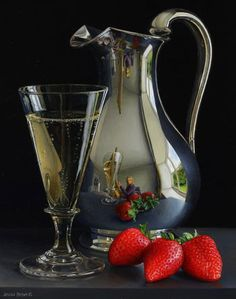 Jessica Brown. Still life with Silver Jug, Champagne and Strawberries