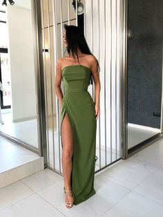 Strapless Sheath Long Prom Dresses With High Split,Green Party Dresses on Storen. - - Strapless Sheath Long Prom Dresses With High Split,Green Party Dresses on Storenvy Source by bcudnoc Pretty Dresses, Sexy Dresses, Beautiful Dresses, Long Dresses, Summer Dresses, Casual Dresses, Cheap Dresses, Outfit Summer, Casual Evening Dresses