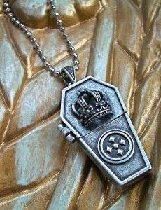 must get - CROWN COFFIN LOCKET Necklace - SECRET COMPARTMENT Pendant