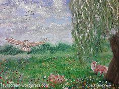 Owl and Fox Meadow http://lauracrean.wordpress.com/my-paintings/