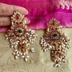 Attractive Silver Earrings From Sree Exotic Silver Jewelleries ~ South India Jewels Gold Jhumka Earrings, Indian Jewelry Earrings, Indian Jewelry Sets, Silver Jewellery Indian, Gold Earrings Designs, Gold Jewellery Design, Antique Earrings, Wedding Jewelry, Silver Jewelry