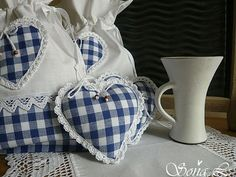 Blue and white gingham Lavender Bags, Lavender Sachets, Fabric Hearts, Fabric Ornaments, I Love Heart, Heart Crafts, Blue Gingham, Felt Fabric, Love Sewing