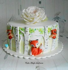 Birch trees birthday cake by lizzy puscasu