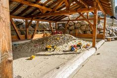 Our giant sandpit house is open in all weathers