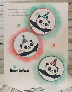 Stampin' Up! Party Pandas- Sale-a-Bration Bday Cards, Kids Birthday Cards, Happy Birthday, Diy Birthday, Birthday Gifts, Card Making Inspiration, Making Ideas, Cumpleaños Diy, Panda Party