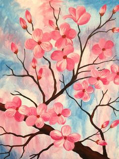 I am going to paint Blushing Branch at Pinot's Palette - Ellicott City to discover my inner artist!