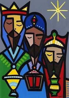 Happy three kings do not forget to attend mass! Christmas Nativity, Christmas Art, Vintage Christmas, Christmas Decorations, Happy Three Kings Day, We Three Kings, Sta Rita, 3 Reyes, Three Wise Men