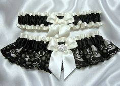 Ivory Satin and Black Lace Wedding Garter Set - W/ Real Crystal Embellishment - Toss Garter Included - Plus Size Too
