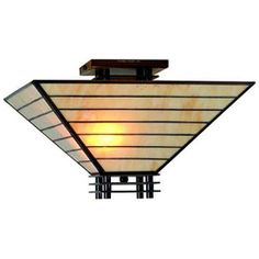 Tiffany-style Mission Semi-flush Ceiling Fixture - Overstock™ Shopping - Great Deals on Warehouse of Tiffany Tiffany Style Lighting