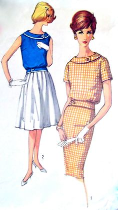 60s Slim Skirt & Sleeveless Overblouse Simplicity by stumbleupon, $8.95