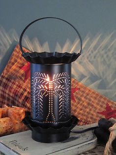 Primitive Country Rustic Punched Tin Electric Wax Warmer - Willow Tree!