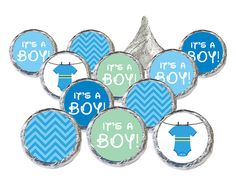 Super Cute Blue and Greens Baby Clothesline themed favor stickers.