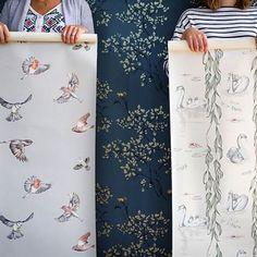 Studio snapshot - Songbirds, Squirrels or Swans? #wallpaper #wallcoverings #drawing #illustration #design #studio #homedecor #inspiration #interiordesign #luxury #lifestyle