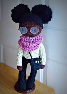 """You have asked and finally I am happy to introduce the pattern for my most popular doll. I call her """"Mia"""" but now you can make your own and name her whatever you like. This super cute African American doll will be an instant favorite. This is an advanced beginner/intermediate pattern but can be a great pattern for the beginner who is ready to take their crochet skills up a notch!"""