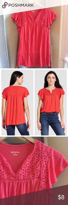 "Merona coral flutter sleeve top size S Super cute and beautiful color. Worn once and in great condition. Eyelet detailing. Pit to pit measures 16"". Merona Tops"