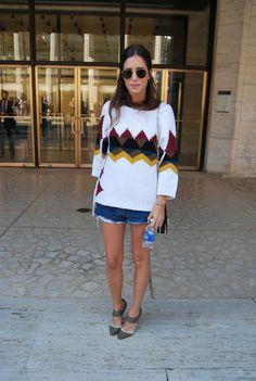"Gala Gonzalez, blog ""amlul"". Fashion Week 9.12.12....love her sweater..."