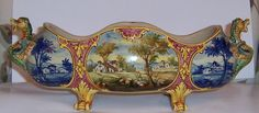 Vintage Hand Painted Dragon Majolica Console Bowl Angelo Minghetti Bologna Italy
