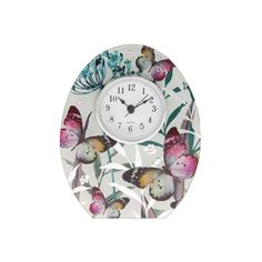 utterfly cascade design mantel clock the clock is made from clear and mirrored glass with a sparkling butterfly and foliage pattern Quartz movement