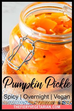 This spicy pumpkin refrigerator pickle comes together in just under 30 minutes to delight your tastebuds with its tangy spicy quick pickled pumpkin goodness! One of the easiest pumpkin recipes you'll ever make this fall, gluten-free savory spicy goodness you won't believe is made with fresh pumpkin, is low-calorie and contains NO oil. Have it today and customize to your tastes, with ginger as a great side to coconut rice and Asian dishes, or without to pair with creamy cheeses. Vegetarian Side Dishes, Vegetarian Appetizers, Vegan Main Dishes, Vegan Dinner Recipes, Vegan Recipes Easy, Vegetarian Recipes, Vegan Pumpkin Bread, Eating Vegetables, Coconut Rice
