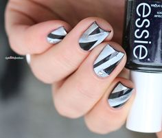 Essie Haute tub // Graffiti black and white stamping nail art - moyou London holy shape