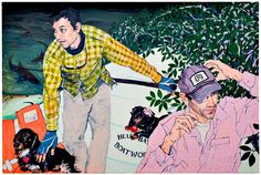 Hope Gangloff  Sharks, Weiner Dogs, 2008    54 x 81 Inches  , Acrylic on Canvas
