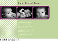 Photo Baptism/Christening Invitations :: Tiny Blessings Green Design