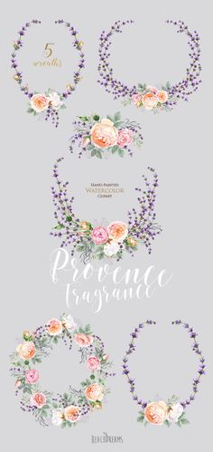 Roses lavender Flowers Watercolor Floral elements by ReachDreams