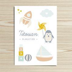 Tanni Lou - Faire-part naissance TITOUAN | Modèle personnalisable gratuitement (texte et couleur) Baby Shower Cards, My Job, Announcement, Birth, Clip Art, Isabelle, Important, Kids, Illustration