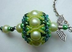 Beaded bead schema - the hardware turns this into a quick pendant. ~ Seed Bead Tutorials