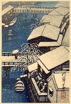 hanga gallery . . . torii gallery: Riverside village in snow by Kawase Hasui
