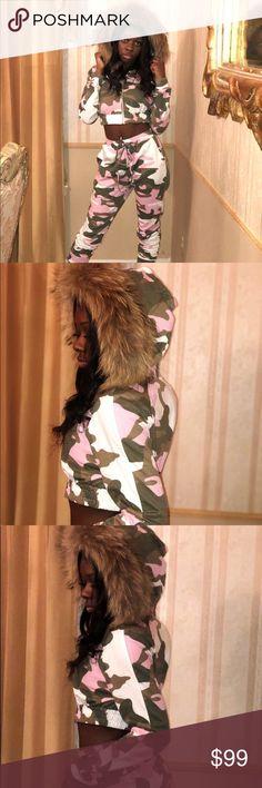 681541430f14b Raccoon trim collar, 2 piece pink army fatigue Raccoon trim collar, 2 piece  pink
