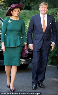 Lovely: Maxima was glamorous in green for the investment meeting