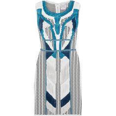 Hervé Léger Akira plissé chiffon-paneled intarsia stretch-knit mini... (£2,570) ❤ liked on Polyvore featuring dresses, light blue, lace up dress, mini dress, light blue chiffon dress, eyelet dress and full length chiffon dress