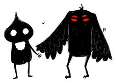 Flatwoods Monster & Mothman on a date, by Hero Fantasy Creatures, Mythical Creatures, Flatwoods Monster, Creepy Houses, Mothman, Cryptozoology, Bigfoot, Conspiracy, Folklore