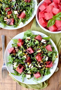 Watermelon, Feta, Basil and Pistachio Salad with Reduced Balsamic Vinaigrette combines summer's produce in a light and refreshing salad. Summer Salad Recipes, Healthy Salad Recipes, Summer Salads, Healthy Snacks, Healthy Eating, Watermelon And Feta, Dinners To Make, Soup And Salad, Food Inspiration