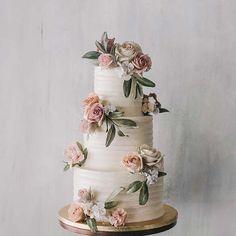 Beautiful Three Tier Floral Wedding Cake