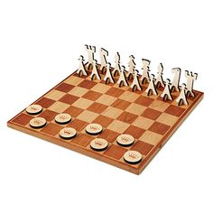 The board is crafted from handsome, solid cherry, and laser-engraved with the traditional grid pattern. The matching game pieces are hand-cut from cherry and maple, and can be used to play either chess or checkers.