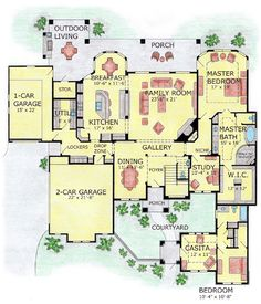 House Plan 53905 | Craftsman European Plan with 4520 Sq. Ft., 5 Bedrooms, 5 Bathrooms, 3 Car Garage at family home plans