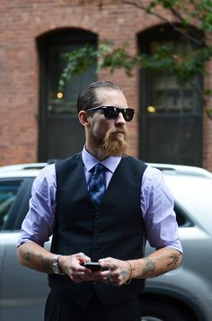 red beard and big mustache beards bearded man men bearding mens' style fashion suit tie dapper tattoos tattooed ginger redhead #keepitgrowing