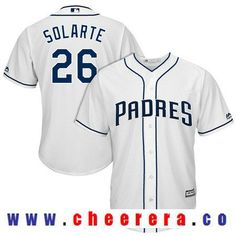 4f6f7456d ... Mens San Diego Padres Yangervis Solarte 26 White Home Stitched MLB 2017  Majestic Cool Base ...