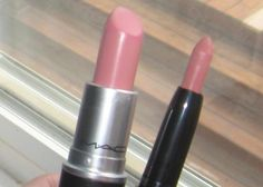 "MAC Cremesheen Lipstick in ""Creme Cup"".  The dupe is E.L.F. Studio Matte Lip Color in ""Natural""."