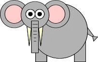 Make an elephant using simple shapes.