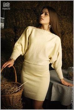 """Платье """" Весеннее"""" - лимонный,орнамент,платье,вязаное платье,желтое платье"""