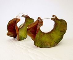 gorgeous, fold-formed and enameled copper jewelry-earrings