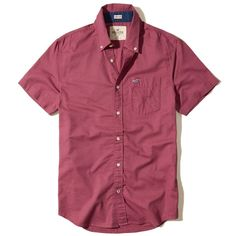Hollister Short-Sleeve Stretch Oxford Shirt ($24) ❤ liked on Polyvore featuring men's fashion, men's clothing, men's shirts, men's casual shirts, burgundy, mens slim fit shirts, mens casual short-sleeve button-down shirts, mens slim fit short sleeve shirts, mens slim fit casual shirts and mens two pocket short sleeve shirts